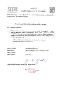 Doklad zvláštní odborné způsobilosti VP Radon